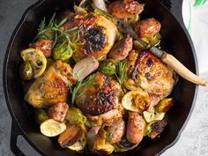 Who wants to juggle three pans on the stove for a hearty fall or winter evening meal? This crispy chicken and sausage dish bakes in a single skillet on a bed of Brussels sprouts until everything is deeply browned and delicious. A rub for the chicken, made from mustard, honey, and rosemary, adds even more layers of flavor.