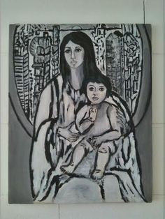 Madonna con bambino in the city. Acrylic on canvas, 40x50 - Thelli 2012