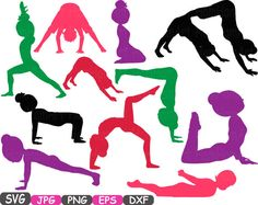 Yoga Poses Cutting Files svg Yoga Silhouettes by HamHamArt on Etsy