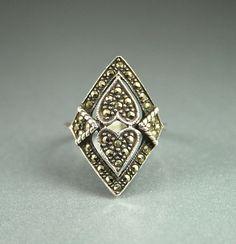 Vintage Ring Sterling Marcasite Heart Diamond by zephyrvintage, $39.00