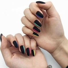 JINDIN Black Matte French Fake Nails Manicure Natural False Nails Short Full Cover Design for Women 24 pcs/set - Cute Nails Club Cute Acrylic Nails, Acrylic Nail Designs, Fun Nails, Nail Art Designs, Unique Nail Designs, Matte Nail Art, Chic Nails, Almond Nails Designs, Party Nails