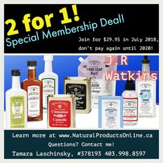 2 for 1 Promo! Now when you join J.R Watkins you get 1 year FREE! Join today for $29.95 and don't pay any renewals until 2020! (offer expires. July 31, 2018) Flexible - No autoshipments or quotas, get your business started today!  Learn More--->Http://www.RespectedHomeBusiness.com/378193