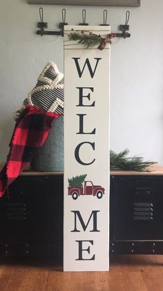 welcome sign porch sign vintage truck sign red truck Christmas Signs Wood, Holiday Signs, Christmas Porch, Rustic Christmas, Christmas Decorations, Xmas, Christmas Red Truck, Snowman Decorations, Etsy Christmas