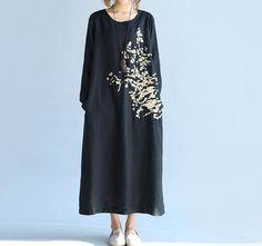 Frauen Herbst tragen lose Maxi-Kleid aus Baumwolle und von MaLieb