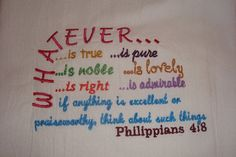 Flour sack kitchen towel, embroidered with scripture, dish towel, tea towel,  $10  by jessiemae https://www.jessiemae.etsy.com
