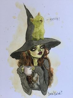 by Dustin Bailard(Halloween costume for your elf girl) Memes Arte, Witch Drawing, Witch Series, Witch Art, Black Power, Matcha, Cat Art, Watercolor Art, Fantasy Art