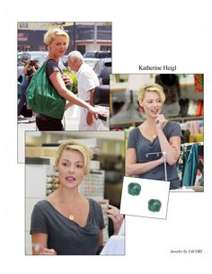 Lovely lady Katherine Heigl kicks up her casual summer style with custom glowing green TACORI earrings!     Available by Special Order only; style no. SE129.27