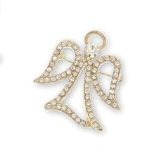 Crystal Stone Filigree Angel Pin, Open Wing, Gold