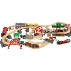 The Brio Deluxe Railway Set is the ultimate Brio Wooden Train set. It is the most complete set available with 87 pieces. An action packed set for train lovers. Deluxe Railway Set from Brio. Ages 3 to 8 years. Wooden Toy Train, Wooden Toys, Circuit Brio, Brio Bahn, Brio Train Set, Brio Toys, Train Tracks, Toys Shop, Bane