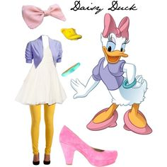 Daisy Duck idea for me. Lilly as Minnie, maybe talk others into joining? Disney Inspired Outfits, Disney Outfits, Disney Style, Duck Costumes, Family Costumes, Donald Duck Kostüm, Daisy Costume, Daisy Duck Halloween Costume, Halloween Kostüm