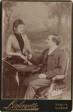 Cabinet Photo of a Victorian Couple taken in Dublin, Ireland around 1890s by James Stack Lauder (1853 – 1923) at his studio located at 30 Westmoreland Street. Lafayette Studio