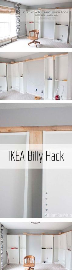 IKEA Hack with built-in Billy bookcases - how we got an expensive built-in library home office look on a budget. How we gave our home office an expensive built-in library look with a Billy IKEA Hack on a budget Billy Ikea Hack, Hack Ikea, Ikea Billy Bookcase Hack, Billy Bookcases, Bookshelves Ikea, Ikea Expedit, Bookshelf Ideas, Home Office Design, Home Office Decor