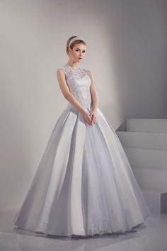 2015 Miraculous Wedding Dress High Neck A Line Floor Length With Applique Satin And Tulle Lace Up