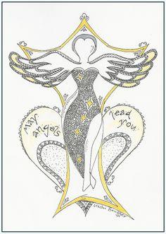 die Engelruferin - calling Angels, Zentangle, Zendoodle, Doodle Art von Uschi Brugger