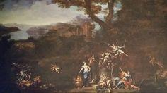 NUNZIO FERRAJOLI  ( Nocera dei Pagani 1660 - Bologna 1735 ). PAESAGGIO CON SCENA ALLEGORICA. olio su tela. 137 × 210 cm. Figure di FRANCESCO MONTI  ( Bologna 1685 - Brescia 1768 ).