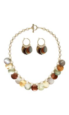 Jewelry Design - Single-Strand Necklace and Earring Set with Mussel Shell Drops, Riverstone Gemstone Beads and Gold-Plated Brass Beads - Fire Mountain Gems and Beads