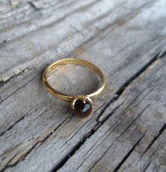 Vintage Gold Filled SolitaireTiger Eye Ring Sz by bettyrayvintage, $45.00