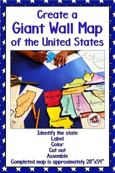 """Can your students find their home state on a map? Use this engaging hands-on resource to provide an interactive experience. The puzzle is fun to solve and educational too. Hang the completed map in your classroom all year long! It's a BIG one, approximately 28"""" x 54""""."""