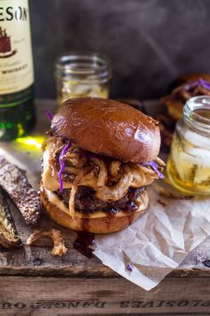 Jameson Whiskey Blue Cheese Burger with Guinness Cheese Sauce + Crispy Onions | halfbakedharvest.com @hbharvest