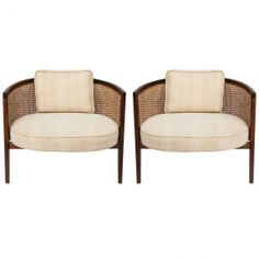 pair of mid century Harvey Probber Walnut And Cane hoop chairs (4 available) | From a unique collection of antique and modern armchairs at
