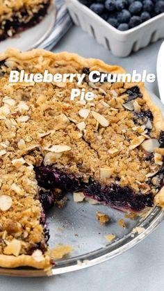 Blueberry Crumb Pie, Blueberry Recipes, Easy Pie Recipes, Baking Recipes, Pie Dessert, Dessert Recipes, Dessert Ideas, Just Desserts, Delicious Desserts