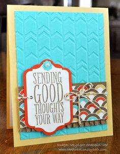 Stampin' Up! Retro Fresh dsp, Arrows textured embossing folder; measurements on blog 1 12 14