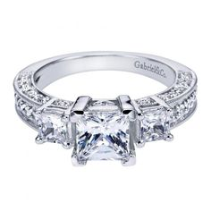 1.50cttw 3-stone plus diamond engagement ring with pave diamond set basket heads