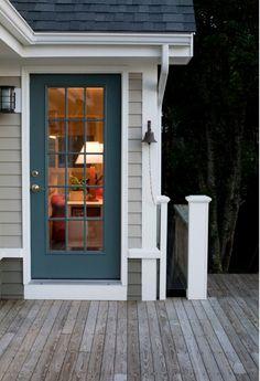 Exterior Door Painted with Benjamin Moore Knoxville Gray Painted Exterior Doors, Exterior Door Colors, Grey Exterior, Front Door Colors, Painted Doors, Exterior Design, Exterior Shutters, Stucco Exterior, Cottage Exterior