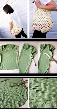 How to Make a No Sew T-Shirt Tote Bag in 10 Upcycled and Refashioned TShirt DIY Tutorials .Recycled T-shirt DIY bag Simple Cheap creative clever idea Diy Bags Easy, Simple Bags, Easy Diy, Recycled T Shirts, Old T Shirts, Sewing Crafts, Sewing Projects, Diy Bags Purses, Craft Ideas