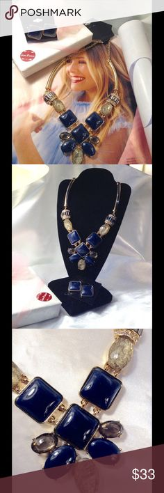 Navy Blue/Gray Necklace Set This gorgeous set features navy blue and gray cabochons and rhinestone accents on a gold tone sturdy chain with matching 1 inch stud earrings. Pictures are pretty but this set is prettier in person (This closet does not trade or use PayPal) Jewelry Necklaces