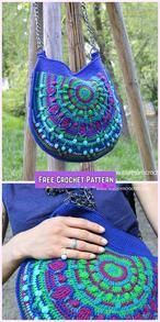 Crochet Bags Design Peacock Tail Bag Free Crochet Pattern - Peacock Tail Bag Free Crochet Pattern: Crochet Peacock tail handbag, shoulder bag, purse for women, free pattern and tutorial Crochet Shell Stitch, Crochet Tote, Crochet Handbags, Crochet Purses, Crochet Crafts, Free Crochet, Knit Crochet, Crochet Designs, Crochet Patterns
