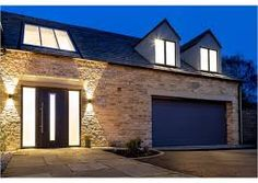 Image result for cotswold.modern exterior Modern Exterior, Garage Doors, Mansions, Stone, House Styles, Outdoor Decor, Wall, Image, Home Decor