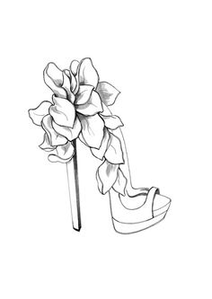 Flowers sandal. Shoe Sketches, Fashion Sketches, Drawing High Heels, Shoe Drawing, Shoe Cookies, Salsa Shoes, Paper Fashion, Fashion Art, Fashion Design