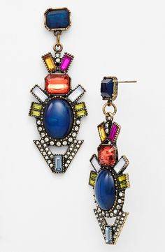 Totally smitten with these colorful mixed stone drop earrings.