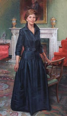 Official Portrait of First Lady Laura Bush 2001, January 20 - 2009, January 20  54 years old