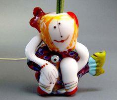 Red Hair Mermaid   - Handmade Lampwork Glass Bead by Manuela Wutschke