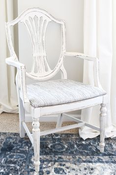 French Style Painted Master Bedroom Chair | Duncan Phyfe chair gets a Magnolia Home style French inspired makeover using Fusion Mineral Paint in creamy white Raw Silk.