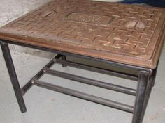 Industrial Manhole-Cover Coffee Table by UNIQFurniture on Etsy