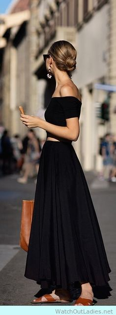 Perfect skirt paired with off shoulders crop top in black