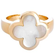 Van Cleef & Arpels Pure Alhambra White Mother of Pearl Gold Ring 18k Gold Jewelry, Golden Jewelry, White Gold Jewelry, Swarovski Jewelry, White Gold Rings, Pearl White, Silver Ring, Jewelry Sites, Jewellery Shops