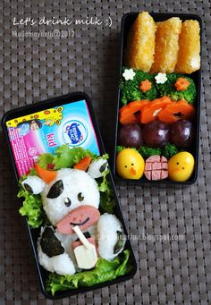 Cow Kyaraben Bento for School Lunch