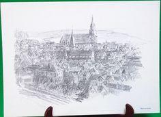 1977 Print Of Pen Sketch By Tübingen Artist Georg Salzmann, Blick Von Norden - $5.95