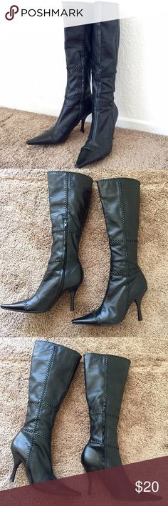 """Knee high boots Gorgeous knee high heeled boots with braided details. Pointed toes. All man made materials. Size 7.5B/37.5. Heel 3.5"""". Top opening is about 6.7"""" across. Slight scuffing at toes, not visible when worn. Used only a few times. BCBGirls Shoes Heeled Boots"""