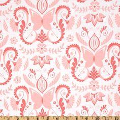 Michael Miller Bella Butterfly Butterfly Damask Pink - Discount Designer Fabric - Fabric.com