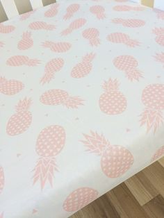 Pink pineapple Fitted Cot Sheet Crib Sheet by ElskeLittleStyle