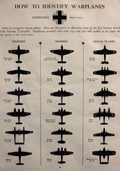 1942 WWII Warplane Identification Chart, German and British Air Force