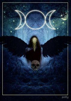 "'The Celtic Goddess Of the Underworld ""The Morrigan""' Poster by Eldi Ulfrson Goddess Symbols, Celtic Goddess, Celtic Mythology, Goddess Art, Triple Goddess Symbol, Celtic Tattoo For Women Irish, Celtic Art, Goddess Of The Underworld, Traditional Witchcraft"