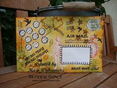 Tutorial Mail Art by Majo. how to create an envelope using lots of Rubber Dance Stamps along with stencils, distress ink and drawing gum.