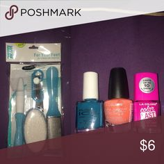 Nail Care Bundle pedicure kit includes: pumice stone, contour toe file, nail brush, cuticle pusher, toenail clipper & callus remover // nail polish includes: blue-ish, green-ish color (pure ice), orange-ish color (l.a. colors) & pink color (l.a. colors) // nothing has been opened, pink for visibility PINK Victoria's Secret Tops Tees - Long Sleeve