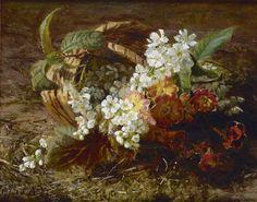 Gerardine Jacoba van de Sande Bakhuyzen (Den Haag 1826-1895) Stilleven met kersenbloesem en primula - Kunsthandel Simonis en Buunk, Ede (Nederland).